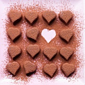 Dusted chocolate hearts
