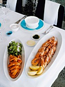 Grilled prawns and squid with chilli salt and rocket