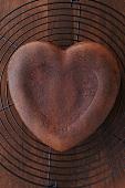 A heart-shaped chocolate cake