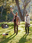 A young couple with a camping stove