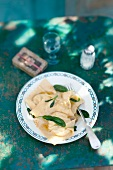 Cheese-filled ravioli and sage butter