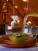 Vegetable stock in a glass cup