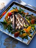 Sword razors with vegetables