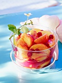 Peach soup with redcurrants