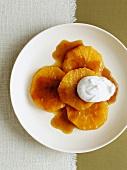 Orange dessert with cream
