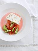 Parfait with kiwis and grapefruit