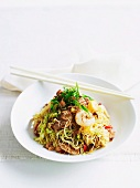 Stir fried Asian noodle with prawns and pork