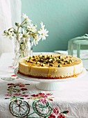 Cream cheese cake with honey and pistachios