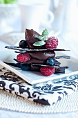 Mille feuilles with chocolate mousse and berries