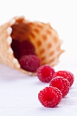 Raspberries and an ice cream cone