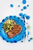 Tuna steak with rice and lemongrass
