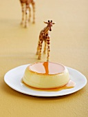 Creme caramel and a giraffe figurine