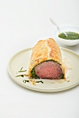 Roast beef with herb wrapped in pastry