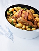 Chicken with bacon, rosemary and new potatoes