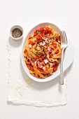 Tagliatelle Amatriciana (Pancetta, garlic, chilli, tomatoes, parsley, Parmesan)
