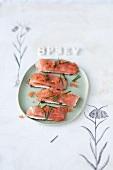 Crispy salmon and horseradish slices