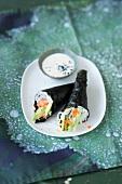 Temaki sushi with sesame seed mayonnaise