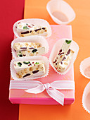 White nougat with almonds, cherries and cranberries