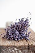 Dried lavender on a wooden board