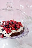 A chocolate cake topped with berries and cream on a cake stand