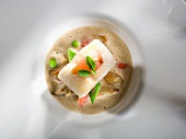 Vegetables foam soup with John Dory