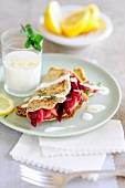 Carrot pancakes with a beetroot medley and a lemon and yoghurt sauce