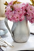 Spring Cherry Blossoms in a Metal Pitcher