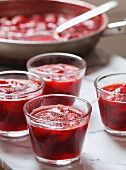 Homemade Strawberry Jam Cooling in Glass Cups