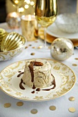 Rum-chestnut semifreddo with hot chocolate sauce