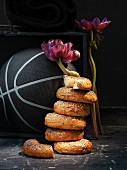 A stack of bagels in front of a basketball