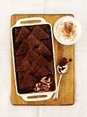 Bread-and-butter pudding with chocolate and jam