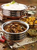 Beef curry with chutney and rice (India)