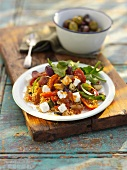 Mediterranean vegetable salad with feta