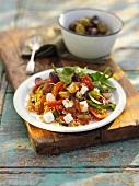 Mediterranean vegetable salad with feta