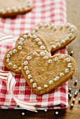 Heart-shaped cinnamon biscuits for Christmas