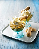Apricot cream with whipped cream, almonds and sponge fingers