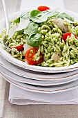 Chicken and orzo salad with pesto