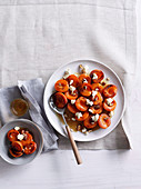 Caramelised apricots with maple syrup and ricotta