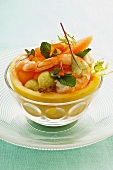 Summer salad with melons and shrimp