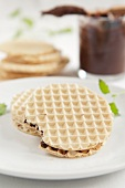 Waffle cookies with chocolate cream