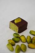 Pistachio-marzipan praline