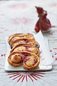 Palmiers with raspberry marmalade