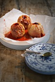 Baked apples with red currant jelly