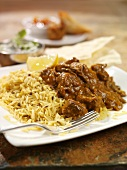 Beef Rogan Josh with rice (India)