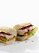 Club sandwiches with chicken and bacon