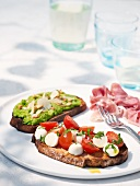 Crostini toscani (grilled bread with various toppings)