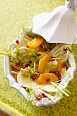 Fennel salad with oranges and pomegranate seeds