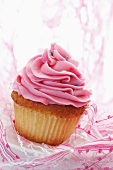 Cupcake with strawberry buttercream