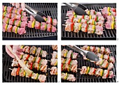 Vegetable and meat kebabs being grilled