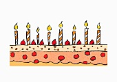 A drawing of a birthday cake with candles (illustration)